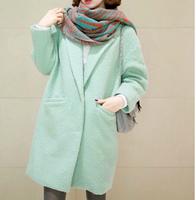 2014 New Arrival Sheinside Autumn Winter Women Casual Tops Outerwear Fashion Mint Green Lapel Double Pocket Longline Wool Coat
