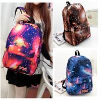 2015 Fashion Women Girl Canvas Bag Print Galaxy Cosmic Space Backpacks Schoolbag Travelling Backpack Pink Brown Grey Blue