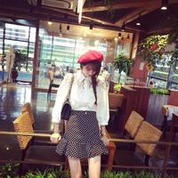 A5324 ! 2014 autumn black and white polka dot fish tail skirt ruffle slim hip skirt bust skirt