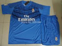 IKER CASILLAS 1 Goalkeeper blue color Real madrid soccer jerseys+shorts & Embroidery logo 14-15 CASILLAS 1 goalie jerseys kits
