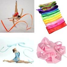 U119 Free Shipping 4M Gym Dance Ribbon Rhythmic Art Gymnastic Streamer Twirling Rod Stick 11 Colors(China (Mainland))