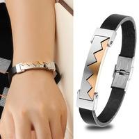 Korean Style W Design Genuine Leather Bracelets & Bangles Vintage Punk Rock Attractive Charm Men Party Jewelry 853