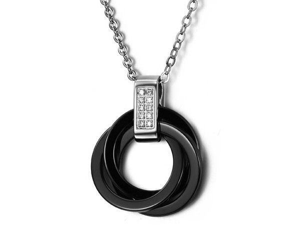 Titanium Steel & Black Ceramic Boys & Men's Necklace Fashion Jewelry Circle Design Hip-Hop Style Free Shipping Jewellery NXL0104(China (Mainland))