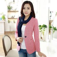 2014 autumn collarless women's blazer wrist-length sleeve blazer slim female 9377