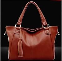 Hot sales women high-grade leather, handbag contracted tassel messenger bag shoulder bag fashion design free shipping