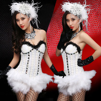 Ballroom Dance Dress Women Carnival Games White Feather Jumpsuits Sexy Costumes DS Lead Dancer Clothing Stage Performance Wear