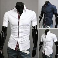 New men's Scottish grid color Korean short-sleeved shirt 100% cotton Slim