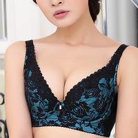 2014 Larg epush cup bra gather thin mold cup bra collection Furu adjustable text underwear women bra set lingerie sexy bra set