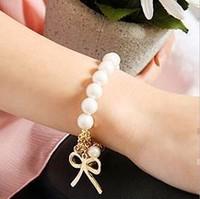 Mininum order $10--Simple pearl bracelets stretch bracelet bow Bracelets&Bangles New Style Gold Bowknot Pearl Bracelets BB13
