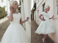 Wholesale Free Shipping Fashion Jewel Neck Applique Bridal Gowns Short Sleeve Tea Length Tulle Ball Gown Wedding Dress 2014