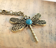Promotion Retro Dragonfly Necklace Women vintage jewelry choker necklaces pendants Free Shipping