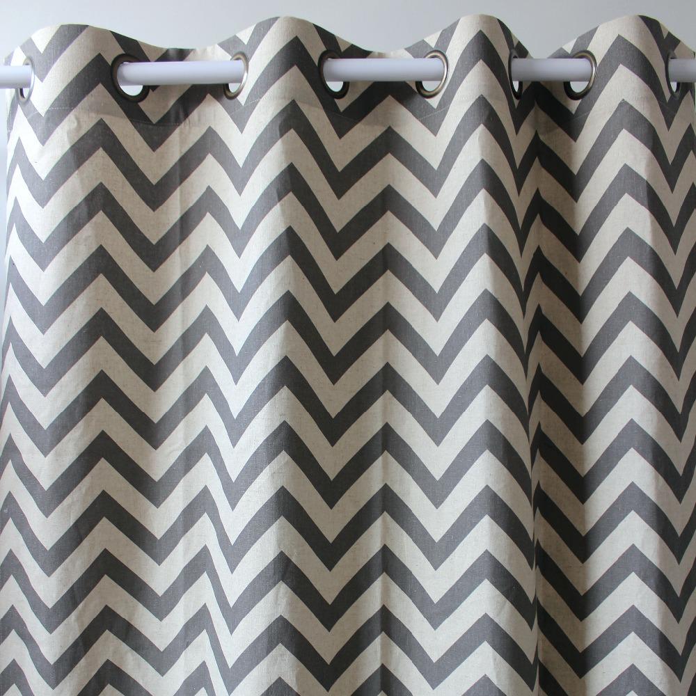 Arrival chevron geometrics abstract grey linen window ready curtains