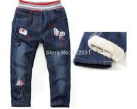 2014 high quality children jeans winter brand  girls thicken warm long pants