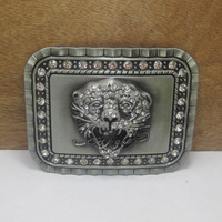 Tiger with diamond belt buckle with pewter finish FP-03454 brand new condition with continous stock