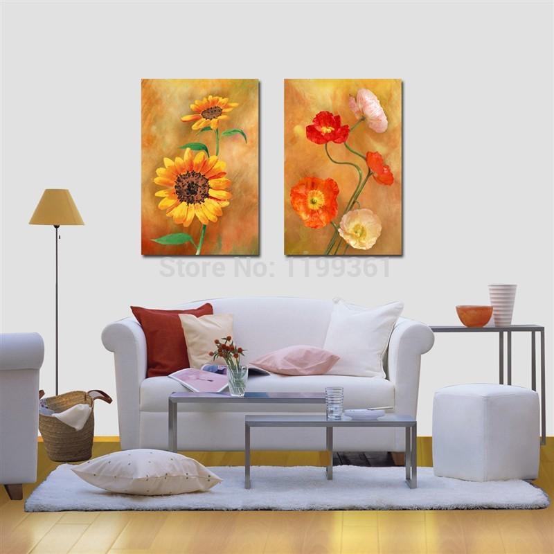 2 painel grátis frete moderna da parede pintura abstrata girassol clássico Poppy Flower decoração de gravuras Canvas(China (Mainland))