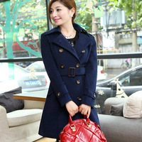 A new spring wool coat coat armour double breasted overcoat female