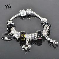 Silver Charm Bracelet for Women bracelets DIY jewelry 2014 new punk Style Glass Beads bangle with CZ crystal WPA0806