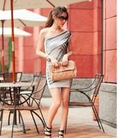 Single Shoulder Gauze Sexy Dress For Women Sleeveless Summer Mini Strapless Slim Party Club Casual Clothing Black/Grey