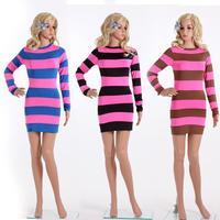 Women Summer Sexy Dresses New 2014 Desigual Clubwear Sexy Nightclubs Dresses Stripe Stitching Long Sleeve Dresses Party