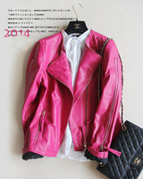 Sheepskin double zipper paragraph leather motorcycle clothing