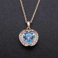 Italina Hot Design OL Genuine Rose Gold Plated Inlay Bright Austria Crystal Heart Shape Sliding Pendant Necklace