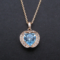 Italina Hot Design OL Genuine Rose Gold Plated Inlay Bright Austria Crystal Heart Shape Sliding Pendant Necklace