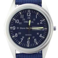 Orkina Military Inspired Ocean Blue Dial Day Week Display Quartz Nylon Strap Mens Wrist Watch | ORK0090