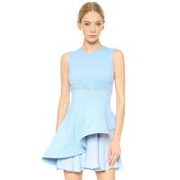 New arrival fashion Elegant charming sexy irregular sweep chiffon dress Light blue asymmetrical O-Neck dress summer women dress