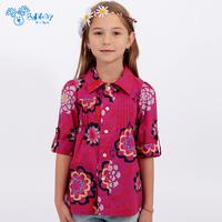 2014 summer female child shirt bohemia female child 100% cotton short-sleeve shirt Girls Clothing Girls shirt