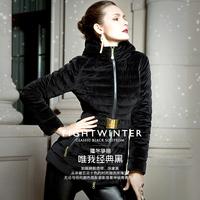 Top beautiful taproom prince medium-long velvet slim down coat female