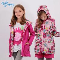 children coat 2014 coat autumn child windproof outerwear female child reversible medium-long flower trench children outerwear