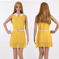 2014 New fashion Peter pan collar Women Dress Chiffon Natural Cute Elegant Casual Summer Dress Slim Office Lady Party Body Brand
