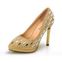 Designer Women Elegent Pumps Sexy Pointed Toe Women High Heels Thin Heels  White Wedding Shoes Fashion Party Golden Shoes XZ0004
