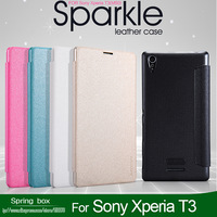 NILLKIN Sparkle Series Flip PU Leather Case Cover  ForSony Xperia T3 M50 With Retail Package + Free Gift