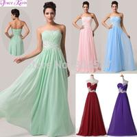 2014 Hot Sale Grace Karin A-line Mint Green Sleeveless Chiffon Pleated Wedding Party Formal Dress Long Evening Gowns AL16 CL6107