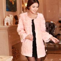 Haining 2014 free postage Cotton Flax rabbit fur coat and long sections Slim cut grain  wool fur coat
