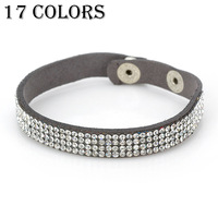 17 Colors 2014 Fashion free shipping Women Wrap Leather Multicolor Crystal Chain Bracelets Bangle two buttons Accessories 4DB010