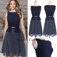 Summer Spring 2014 Women Dresses Women Vintage Celeb Belted Polka Dot Party Wear To Work Chiffon Tunic Dress b7 SV003546