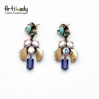 Artilady Brand New Alloy Earrings Brincos Vintage Blue Resin Crystal Droping Earrings Women Jewelry 2015 Fashion Jewelry
