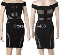 2014 Women's Summer dress Super Sexy Club Party Dresses Evening Night club elegant lace Bandage off-Shoulder Dress