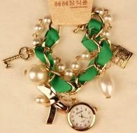 2014 New Fashion Women Rhinestone Watches Bracelet Vintage Watch Key And Lock Lady Casual Wristwatches New Promotion