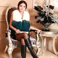 Haining 2014 Free  Post Fashion Plaid wool vest fox fur vest women's fashion short paragraph fur