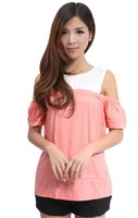 Hollow Out Off Shoulder Blouse For Women Short Sleeves Round Collar Buttons Decorated Loose Designed Shirts Orange