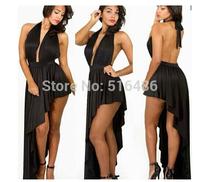 2014 Women's Summer dress Super Sexy Club Party Dresses Evening Night club deep V neck halter lace irregular backless Dress