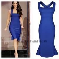 New 2014 Elegant Sexy Women Celeb Style Bodycon Mini Slim Sleeveless Blue Peplum Dress Party Evening Dress b7 SV003544