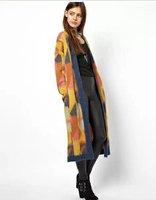 2014 long cardigan women loose long sleeve sweater woman geometric printed high quality winter cardigan