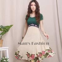 2014 New Fashion Women Summer High Waist Embroidered Dress Stitching Party Dresses S/M/L B11 SV003702