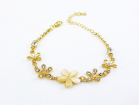 DS021 12pcs/lot Mix Lot 2014 New Items High Quality Fashion Jewelry Wholesale Cat's Eye Flower Charm Bracelet Wristband