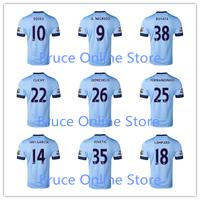 Aguero DZEKO Lampard Man City Jersey Top Tail 14 15 Man City 2015 Home Away White Soccer Jersey