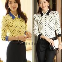 2014 Ladies Spring Slim Peter Pan Diamante Collar Polka Dot Print Long-Sleeve Chiffon Blouses Shirt For Women #005 SV003662